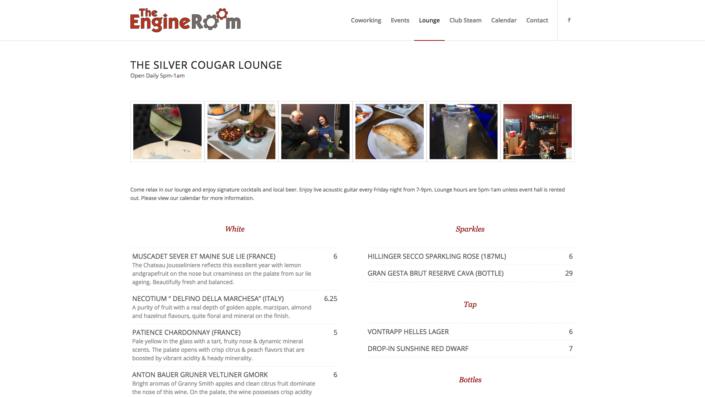 Engine Room Lounge Page